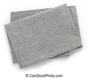 Cotton napkin - Folded grey cotton napkin isolated on white...