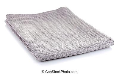 Grey cotton napkin isolated on white background