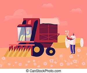 Cotton Picker Working in Field. Mechanized and Manual ...