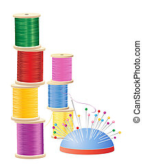 cotton reel stack - an illustration of a stack of colorful...