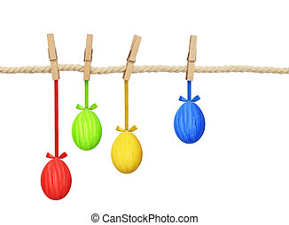 Cotton rope and four pins with hanging Easter painted eggs