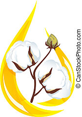 Cotton seed oil. Stylized drop of oil and a sprig of cotton...