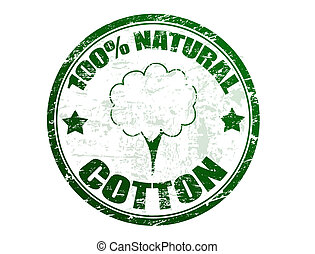 Cotton stamp - Grunge rubber stamp with cotton and the text...