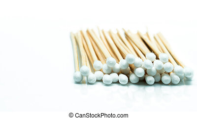 Cotton sticks isolated on white background with copy space for text