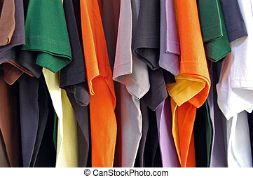 cotton t-shirts - Row of colorful cotton t-shirts. Clothes...
