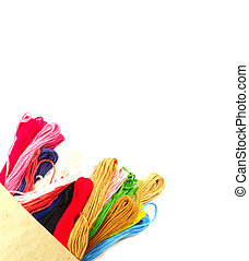 Cotton thread Colorful on white background