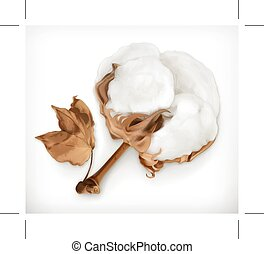 Cotton vector icon - Cotton, icon isolated on white...