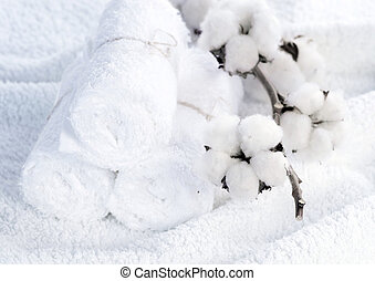 Cotton White Towels With Cotton Plant