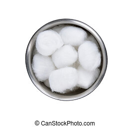 Cotton wool container on white background.