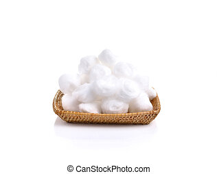 cotton wool in samal basket on white background