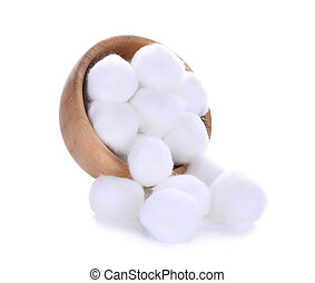 cotton wool in wooden bowl isolated on a white background