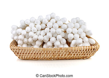 Cotton wool sticks isolated on white
