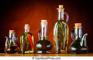 cottura, bottiglie, olio