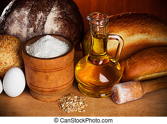 cottura, bread, natura morta