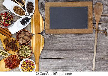 cottura, con, fresco, fragrante, spezie