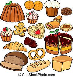 cottura, e, dolci, icona, set