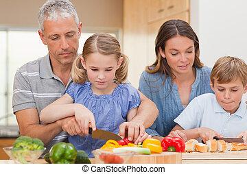 cottura, famiglia, insieme, charmant