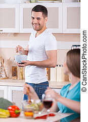 cottura, insieme., coppia felice, cottura, insieme, cucina