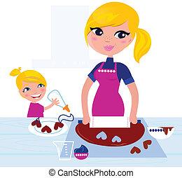cottura, madre, ragazza, carino, porzione, natale, lei