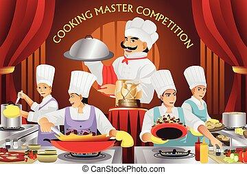 cottura, maestro, concorrenza