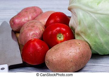 cottura, patata, cucina, tagliere, coltello