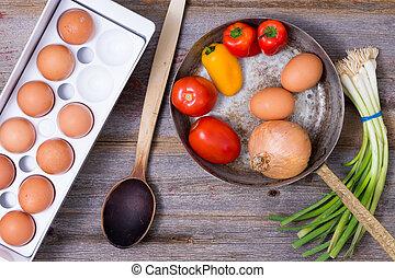 cottura, uno, saporito, vegetariano, omelette