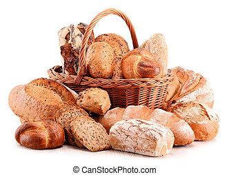 cottura, varietà, isolato, prodotti, bianco, composizione