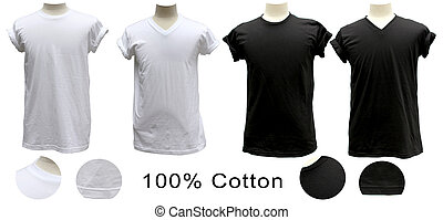 cou, t-shirt, noir, v, blanc, rond