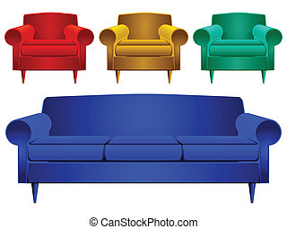 couch and armchairs against white background, abstract...