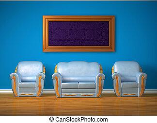 couch, blaues, stühle, zwei, minimalist, inneneinrichtung