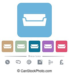 Couch flat icons on color rounded square backgrounds