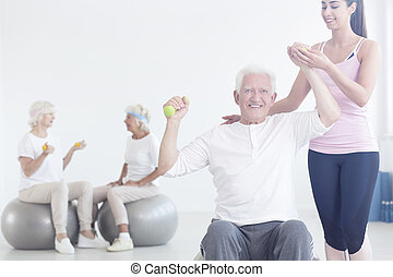 couch improving stretching elderly man