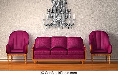 couch, luxuriös, lila, stühle, zwei, minimalist, inneneinrichtung