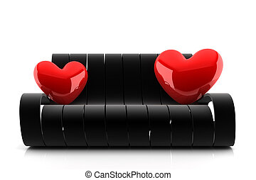3d render of a black couch with two red hearts