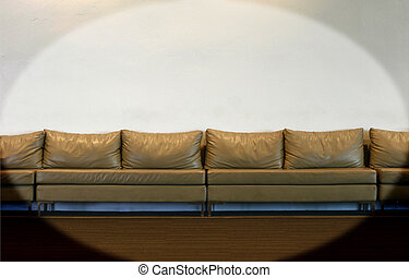 couch on white wall