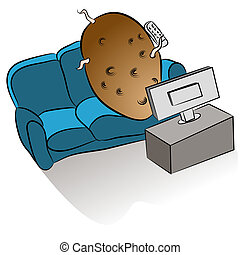 Couch Potato - An image of a couch potato watching tv.