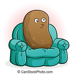 Couch Potato Cartoon Character - A couch potato cartoon...