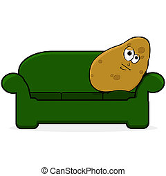 Couch potato - Cartoon illustration showing a potato looking...