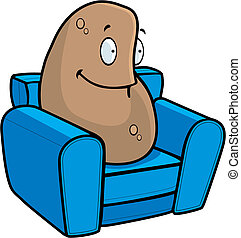 Couch Potato - A cartoon potato on a couch.