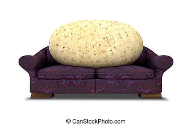 Couch Potato - A literal depiction of a potato sitting on a...