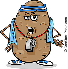 Cartoon Humor Concept Illustration of Couch or Coach Potato Saying or Proverb