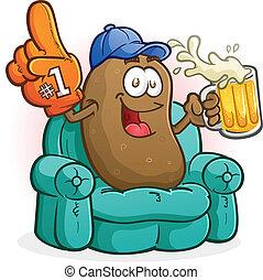 Couch Potato Sports Fan Cartoon - A happy couch potato,...