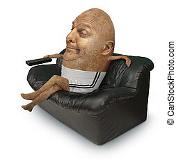 couch potato - A potato man sitting on a couch with remote