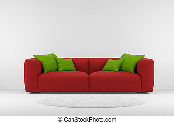 couch, roter teppich