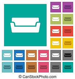 Couch square flat multi colored icons
