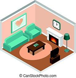 couch., vivendo, isometric, lareira, sala, interior