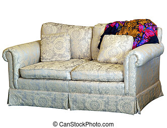 Couch with Cushion with Colorful Rug isolated with clipping...