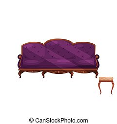 Couch with purple velvet trim and chair with beige trim. Interior objects. Classic furniture for living room. Flat vector design