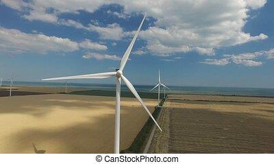 couche, aérien, énergie, haut, mécanisme, source, vert, fond jaune, devant, fin, vue., alternative, vent, survey.