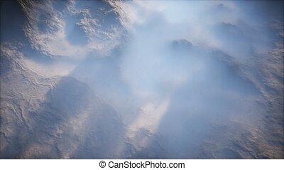 couche, brouillard, mince, lointain, vallées, gamme, montagne
